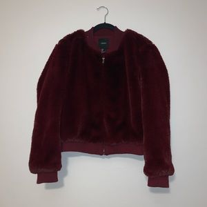 Forever 21 Maroon Faux Fur Jacket